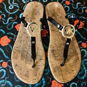 MK Michael Kors Cork Flip Flop Sandals Black Sz 12